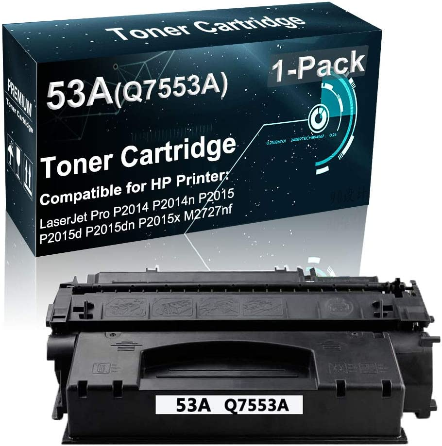 1-Pack (Black) Compatible Printer Toner Cartridge High Yield Replacement for HP 53A Q7553A Printer Toner use for HP Pro P2014 P2014n P2015 P2015d P2015dn Printer (Lines-Consistant)