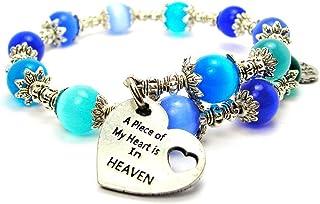 A Piece of My Heart is in Heaven Cat's Eye Wrap Charm Bracelet in Sapphire and Aqua Blue Glass