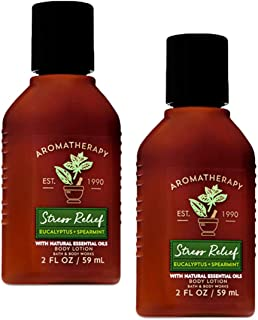 Bath and Body Works 2 Pack Aromatherapy Stress Relief Eucalyptus & Spearmint Travel Size Set. Body Lotion 2 Oz