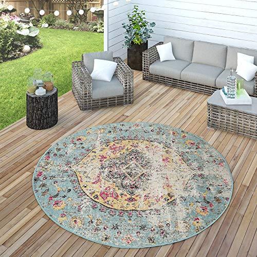 Paco Home In- & Outdoor Teppich Modern Orient Print Terrassen Teppich Wetterfest Türkis, Grösse:Ø 200 cm Rund
