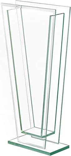 """discount Royal Imports outlet sale Flower Glass Vase Decorative Centerpiece for Home or Wedding Tall Tapered Clear Trim Plate online Glass with Base, (5"""" W, 2"""" Opening) 13.5"""" Tall online"""