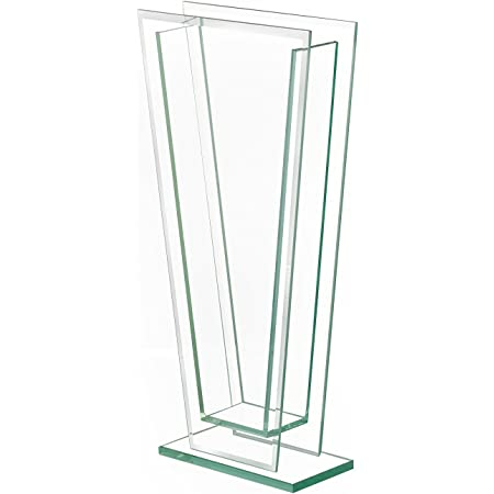 """Royal Imports Flower Glass Vase Decorative Centerpiece for Home or Wedding Tall Tapered Clear Trim Plate Glass with Base, (5"""" W, 2"""" Opening) 13.5"""" Tall"""