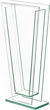 Royal Imports Flower Glass Vase Decorative Centerpiece for Home or Wedding Tall Tapered Clear Trim Plate Glass with Base, (5""