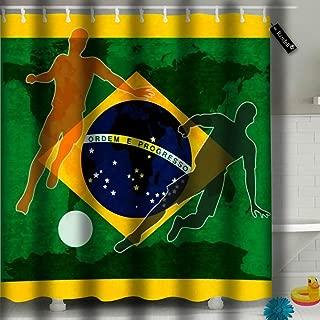Randell Bathroom Curtain Waterproof Thick Shower Curtains Brazil Brazilian Flag International Football Soccer Championship Shower Curtain 60