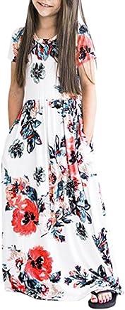 b34e2b89a Girls Floral Flared Pocket Maxi Three-Quarter Sleeves Long Maxi Princess  Party