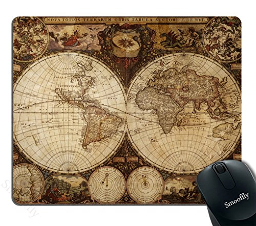 Smooffly Vintage World Map Mouse pad , Image of Old Map in 1720s Nostalgic Style Art Historical Atlas Mouse Pad,Brown Beige