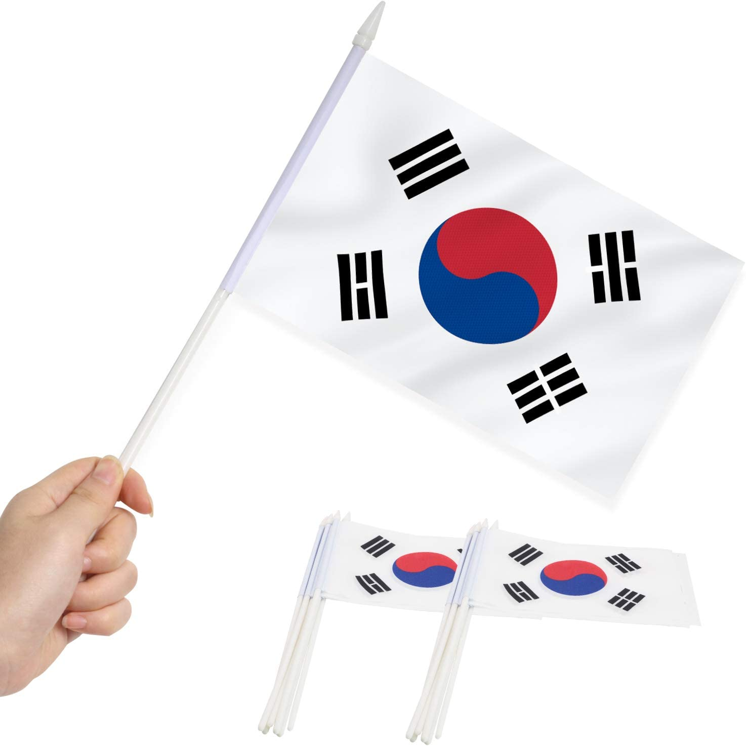Anley Korea Mini Flag 12 Pack - Hand Held Small Miniature Korean Flags on Stick - Fade Resistant & Vivid Colors - 5x8 Inch with Solid Pole & Spear Top