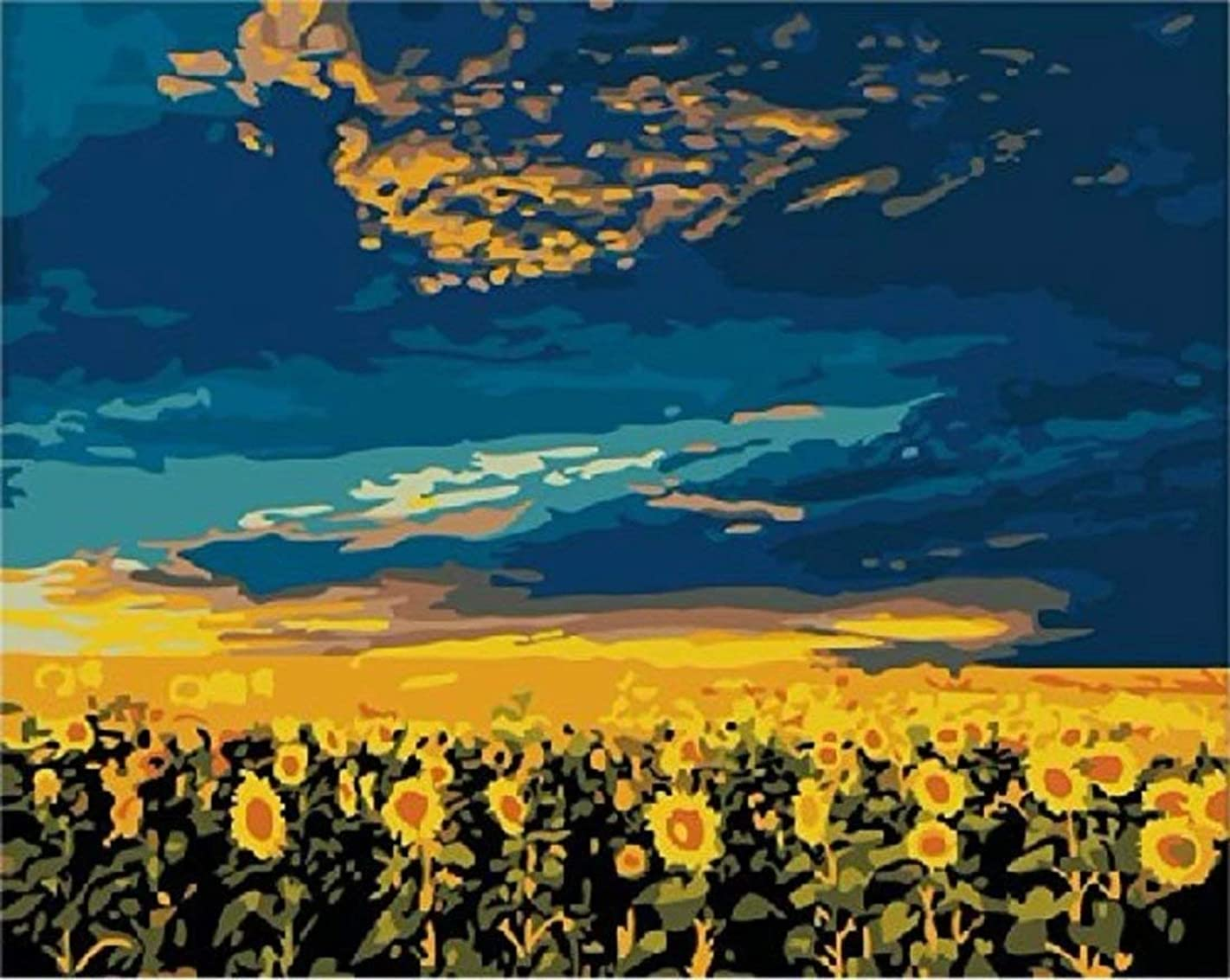 Dorara DIY Oil Painting Paint By Number Hand Paintworks 16×20 Inches Sky Sunflower