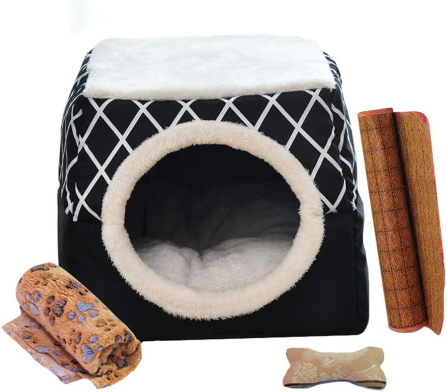 YunNasi Casas para Gato Cueva para Animales Casa de Gato Cama Cueva para Perros Cama para Gatos con Coj/ín Extra/íble Lavable Cama para Perros C/álida en Invierno 52x48x39cm, Regalo 4