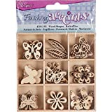 Finishing Accents 45 Piece Butterfly Theme Mini Laser Cuts Wood Shapes, Multicolor