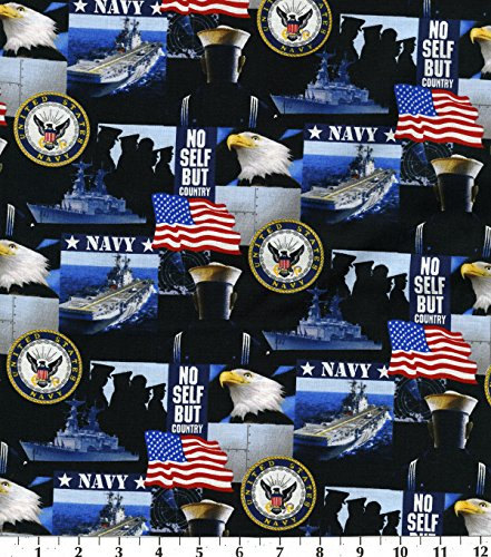 Cotton US Navy Patriotic USA United States of America Military Naval Cotton Fabric Print by The Yard (1021navy)