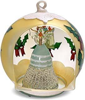 BANBERRY DESIGNS Lighted Christmas Ornament - LED Hand Painted Glass Ball Ornament with Color Changing LED Lights - Holiday Angel Inside Holding a Candle
