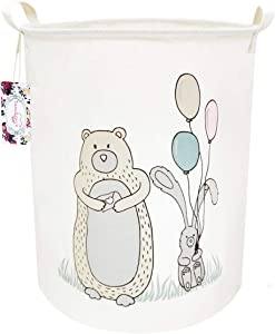 TIBAOLOVER 19 7 quot  Large Sized Waterproof Foldable Canvas Laundry Hamper Bucket with Handles for Storage Bin Kids Room Home Organizer Nursery Storage Baby Hamper  Bear amp Balloon