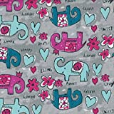 Tela para niños - Los felices y divertidos 'hippie' elefantes - azul aqua, verde azulado y magenta - 100% algodón suave | ancho: 160 cm (por metro lineal)*
