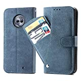 Asuwish Moto X4 2017 Case,Leather Wallet Phone Cases with Credit Card Holder Slim Kickstand Stand Feature Flip Folio Protective Cover for Motorola Moto X 4 Women Girls Blue