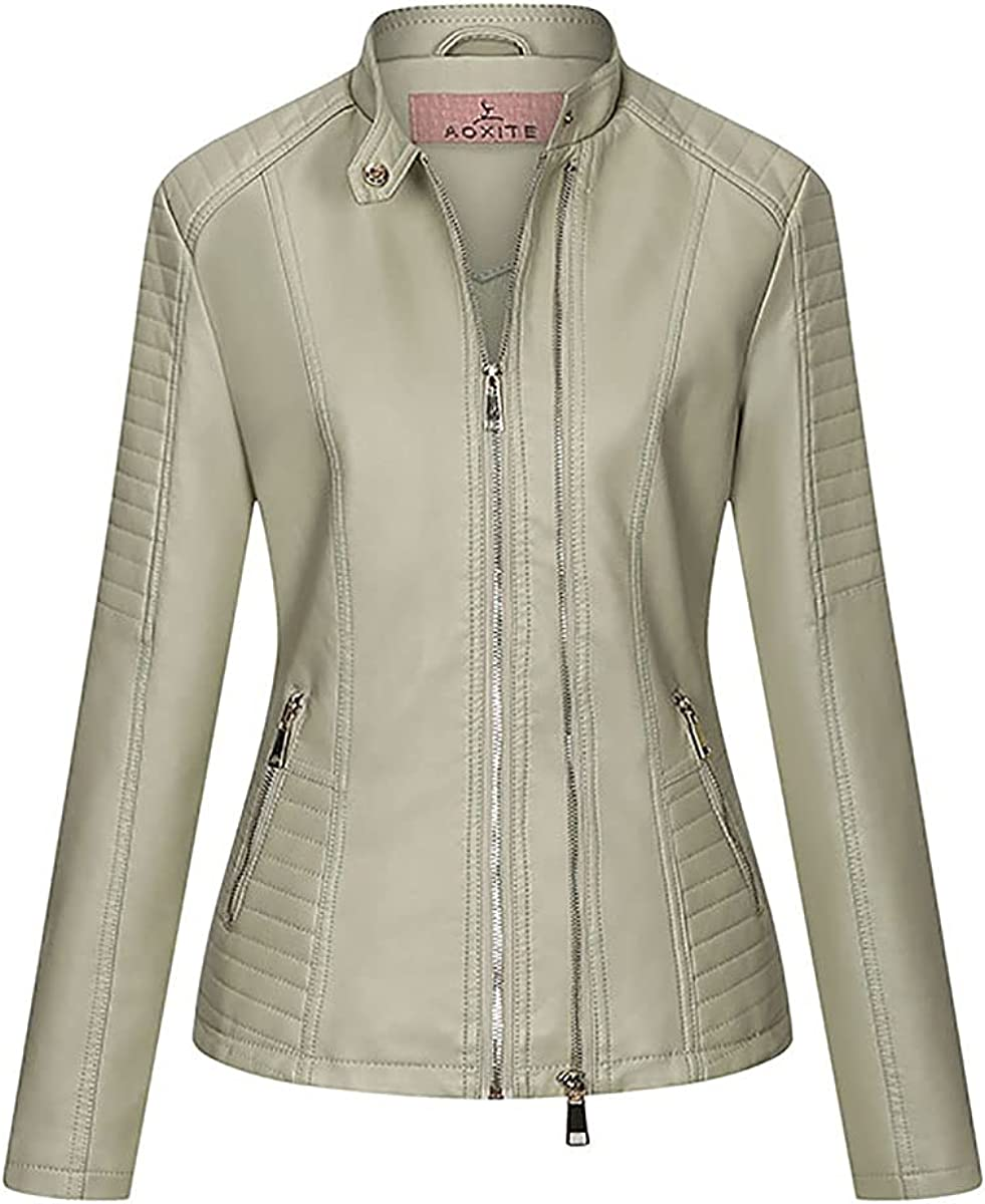 Womens Faux Leather Zip Up Moto Biker Jacket Stand Collar Coat With Pocket