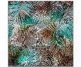 Vos bilder24. di–Decorazione da parete XXL giungla Feeling astratto verde marrone su tela e case. Migliore qualità, fatto a mano in Germania., blau gelb weiß grün rot orange braun schwarz rosa, 60 x 60