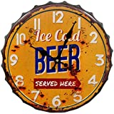 HDC International 05-0073 Ice Cold Beer Bottle Cap Wall Clock, 14', Orange