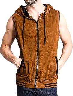 SHOWNO Men Hoodie Hip Hop Sleeveless Sport Tank Top Shirt Hoodies Sweatshirt