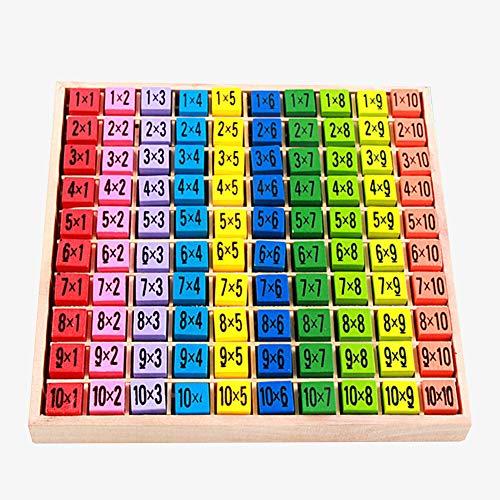 Vegena Holz Mathematik Spielzeug, Holz Einmaleins Mathematik Pädagogische Hölzerne Spielwaren, Bunte Würfel mit Aufgaben, Holzrechenbrett 1x1 Multiplikationstabelle für Kinder Kleinkinder