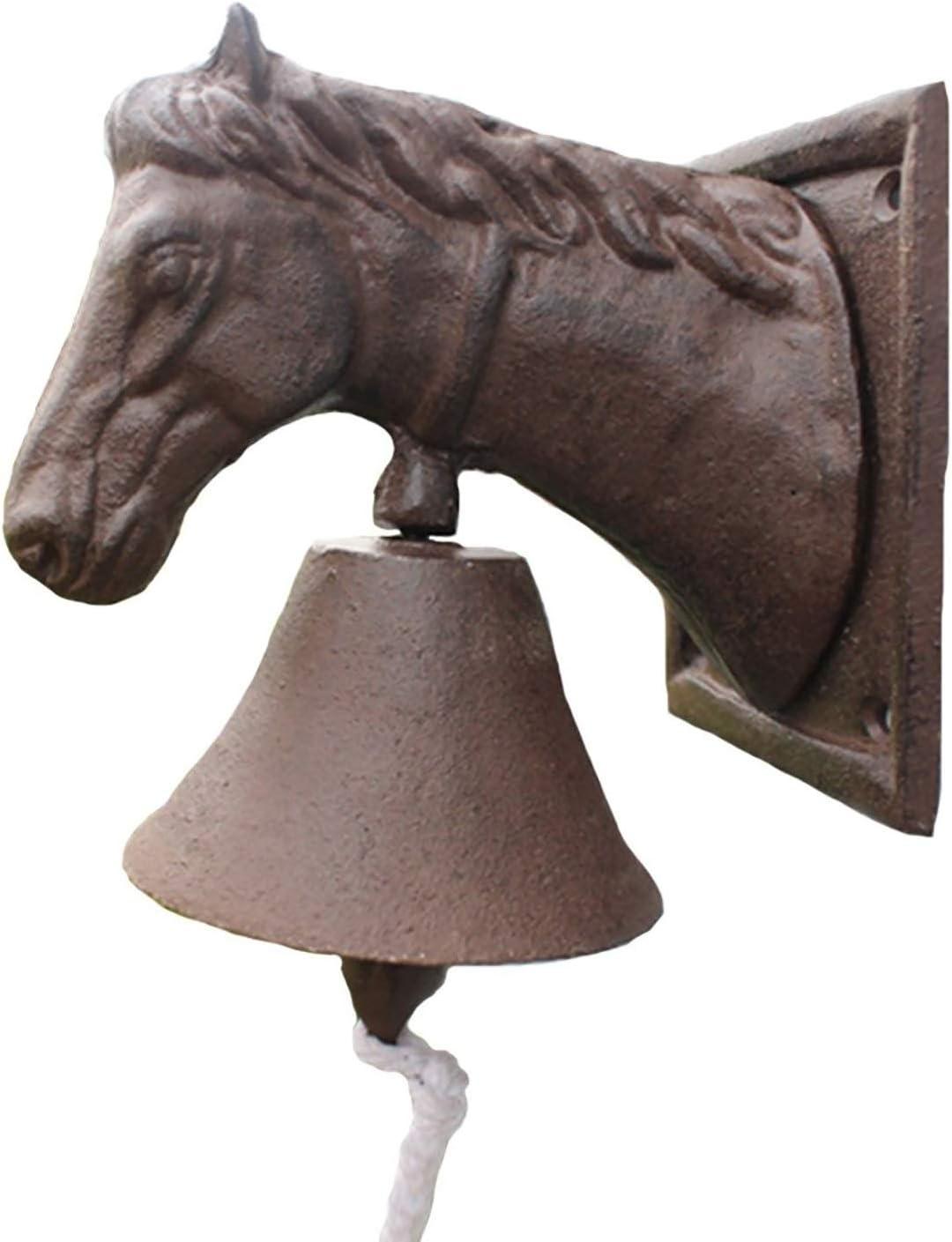 ZZYE Ranking TOP15 Dinner Bell New item Cast Iron Door Horse Head Ornate Doorbell