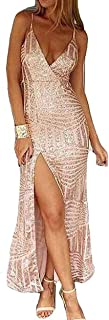 Miss ord Women's Sleeveless V Neck Sequined Maxi Prom Dress with Side Split