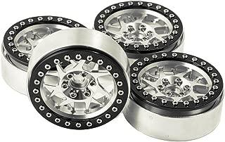 2.2 Aluminum Beadlock Wheels for RC Wraith TRAXXAS TRX-4 Axial SCX10 90046 90048 Redcat D90 CC01 Pack of 4 (Black+Silver)