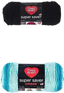 Red Heart Yarn Super Saver Yarn 312 Black, Teal Bundle Super Saver Ombre Yarn, 10 oz, Scuba