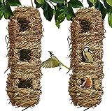 fly away Casa de pájaros tejida a mano para colgar con 3 agujeros, fibra natural respetuosa con el medio ambiente canarios nido casa de garbanzos para exteriores