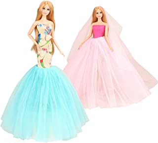 BARWA 2 Pcs Doll Dress Red Gown Dress with Hat and Blue Wedding Dress with Veil Evening Party Clothes for 11.5 Inch Girl Doll (Blue + Red) (C: Blue + Pink)