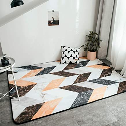 Tapis Design en Polypropylène Marron Orange Blanc Moderne ...
