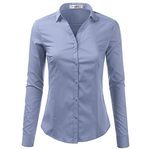 0c127ada4b935 Doublju Basic Slim Fit Long Sleeve Button Down Collared Shirts for Women  with Plus Size