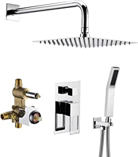 Shower Valve And Trim Kit,Shower System Includes 10 Inches Rain Shower Head With Handheld, Solid Brass Pressure Balance Valve, Chrome Finish