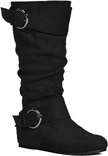 RF ROOM OF FASHION Women's Wide Calf Wide Width Knee High Boots w Pocket - Plus Size Friendly
