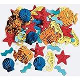 Ocean-Party: 250-tlg. Metallic-Konfetti * SEA Life * als glitzerndes Deko zum Geburtstag oder Mottoparty | Tischdeko Muscheln Fische Seesterne Seepferdchen Wellen - 2