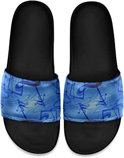 SLHFPX Music Note Men's Leather Slide Sandals Summer House Slippers Wide Boys