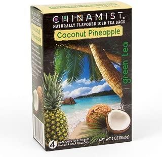 China Mist - Naturally Flavored Coconut Pineapple Green Iced Tea Bags - Each Tea Bag Yields 1/2 Gallon