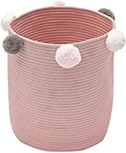 SWZJJ Woven Rope Storage Laundry Hamper Container for Bathroom Hotel Bedroom Organiser with Pom Decor (Color : Pink)