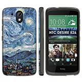 [Mobiflare] HTC Desire 526 TPU Silicone Phone Case [Black] Ultraflex Thin Gel Phone Cover - [Starry...