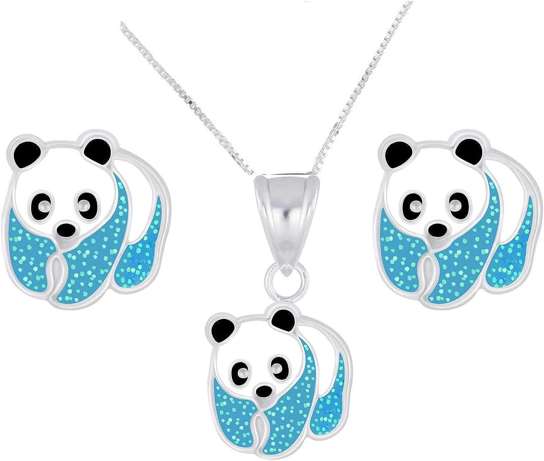 colgante y pendientes infantiles de oso panda de plata de ley 925 en estuche de joyer/ía. FIVE-D Juego de cadena