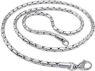 Collar de hombre - SODIAL(R) cadena de joyeria de hombres, collar de cadena del encintado de acero inoxidable, plata (3 mm de anchura, 55 cm de longitud)
