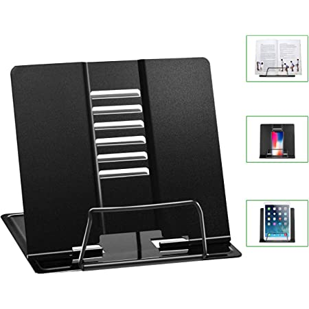 HJUEY Adjustable Book Stand Portable Foldable For Reading Music Book Cook Book