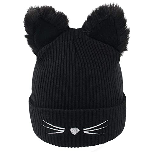 8e158e366 Richoose Fashion Women's Winter Wool Cute Cat Ears Knit Beanie Hats, Black