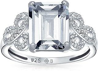 Bling Jewelry Pave Argento Sterling 925 Cubic Zirconia AAA CZ Celtico Amore Nodo 3CT Taglio Smeraldo Solitario Anello di F...