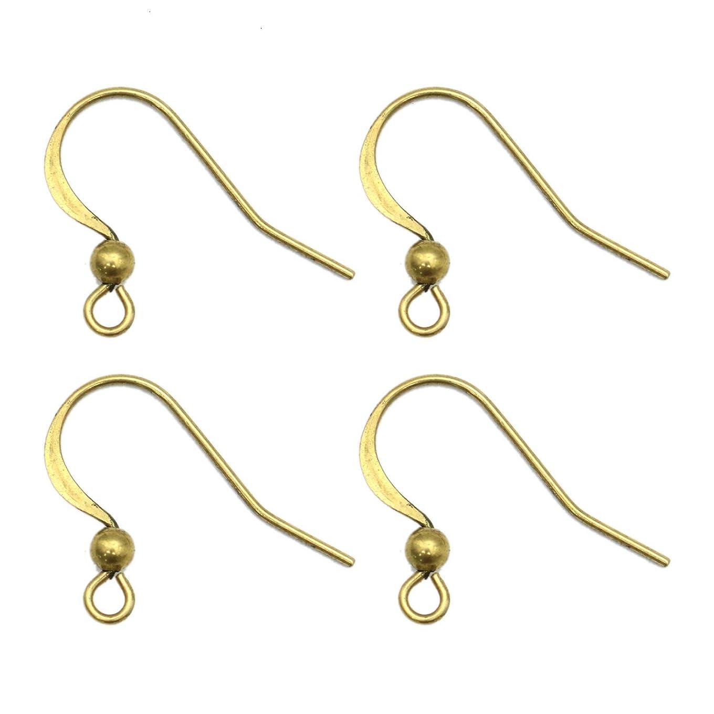 Monrocco 100 Pcs Brass Earring French Hooks Ear Wire-2116mm
