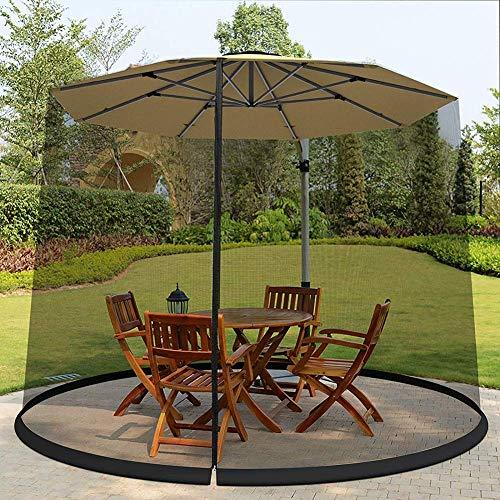 Außen 9 * 7.5ft Regenschirm Tabellenschirm, Ineinander greifen Moskito Schirmdach, Polyester Mesh-Schirm mit Reißverschlussöffnung und Wasserrohr an Base halten an der richtigen Stelle, Schwarz, 7,5-F