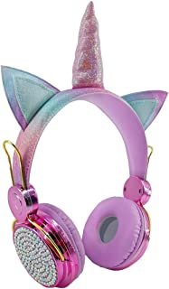 Unicorn Headphones for Girls, Glitter Pink Anime Headphones Headband with 85dB Volume Limited, Wired Kids Headphones with Microphone