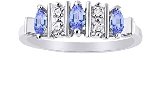 Marquise Tanzanite & Diamond Ring Set in Sterling Silver .925