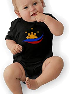 PA2PAFU Flag of The Philippines Filipino Baby Clothes Newborn Girls Short-Sleeve Creeper Jumpsuits Suit