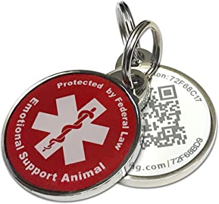 Pet Dwelling Advanced ESA ID QR Code Tag Links to Online Profile w/Photo ID/Medical Info/Scanned GPS Location Map Stamp(Epoxy Coating)